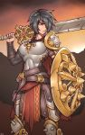 1girl absurdres arm_guards armor belt black_hair breastplate brown_eyes cape chainmail gold_trim hair_over_one_eye highres leg_armor looking_to_the_side original pauldrons pouch rd_rn00 shield short_hair shoulder_spikes simple_background solo spiked_kneepads spiked_shield spikes strap sword tagme weapon