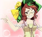 1girl amigasa armpit_peek arms_up bare_shoulders bell breasts brown_eyes brown_hair bubble_background commentary dress futatsuiwa_mamizou gradient gradient_background grin hat_bell jingle_bell leaf leaf_on_head looking_at_viewer one_eye_closed pink_background remyfive semi-rimless_eyewear short_hair sleeveless sleeveless_dress small_breasts smile solo standing thick_eyebrows touhou under-rim_eyewear upper_body yellow-framed_eyewear yellow_dress
