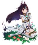 1girl animal_ears black_hair blush breasts dress elbow_gloves flower fox_mask gloves grass kasane_(xenoblade) long_hair looking_at_viewer mask medium_breasts mokki plant red_eyes seiza short_dress simple_background sitting smile solo thigh-highs white_background xenoblade_(series) xenoblade_2