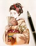 1girl artist_name blush brown_hair brown_kimono clivenzu closed_eyes closed_mouth commentary daisy english_commentary eyeshadow fan flower folding_fan geisha graphite_(medium) hair_flower hair_ornament hairpin hand_up highres holding holding_fan japanese_clothes kimono lipstick maiko_katsuna makeup mechanical_pencil mixed_media obi original pencil photo pink_flower real_life red_lips red_lipstick red_sash sash smile solo traditional_media twitter_username upper_body white_flower yellow_sash