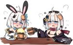 2girls :d @_@ animal_ears bailingxiao_jiu bare_shoulders beer_mug bell bikini bikini_top black_bikini black_bow black_kimono blue_bow blue_eyes blue_ribbon blush bow braid bunny_hair_ornament carrot cup drooling fang foam glasses hair_bow hair_ornament hair_ribbon holding holding_cup horns japanese_clothes jingle_bell kimono mouth_drool mug multiple_girls nose_blush off_shoulder oni oni_horns open_clothes open_kimono open_mouth original rabbit_ears red-framed_eyewear ribbon short_hair silver_hair simple_background smile swimsuit white_background