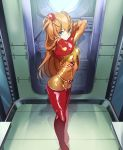 1girl absurdres blue_eyes bodysuit commentary_request evangelion:_2.0_you_can_(not)_advance hair_ornament highres huge_filesize interface_headset kamekichi_(6969) long_hair looking_at_viewer multicolored multicolored_bodysuit multicolored_clothes neon_genesis_evangelion orange_bodysuit orange_hair pilot_suit plugsuit rebuild_of_evangelion red_bodysuit shikinami_asuka_langley solo souryuu_asuka_langley standing test_plugsuit