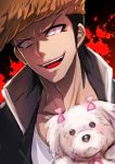 1boy animal black_hair blood blood_splatter bow brown_hair chiko_(d04099) collarbone danganronpa dog evil_grin evil_smile grin high_collar looking_at_viewer male_focus medium_hair multicolored_hair oowada_mondo open_mouth pink_bow pompadour smile solo teeth two-tone_hair upper_body upper_teeth yankee