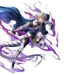1boy alternate_costume argon_(exys) aura barefoot cape corrin_(fire_emblem) corrin_(fire_emblem)_(male) dragon_tail fire_emblem fire_emblem_fates fire_emblem_heroes full_body gloves glowing glowing_eyes highres official_art pointy_ears red_eyes tail teeth transparent_background white_hair