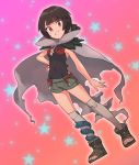 1girl black_hair black_shirt breasts cloak covered_navel grey_cloak grey_legwear higana_(pokemon) highres looking_at_viewer nyonn24 pokemon pokemon_(game) pokemon_oras ponytail red_eyes shirt short_hair short_shorts shorts sleeveless sleeveless_shirt smile solo thigh-highs torn_cloak torn_clothes