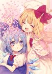 2girls blonde_hair blue_bow blue_eyes blue_hair blush bow bowtie cirno closed_eyes commentary_request hair_bow hat hat_bow highres ice ice_wings kyouda_suzuka lily_white multiple_girls open_mouth parted_lips petals puffy_short_sleeves puffy_sleeves red_bow red_neckwear short_sleeves smile tears touhou upper_teeth white_headwear wide_sleeves wings