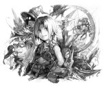 3girls 4boys adelbert_steiner aircraft airship armor bangs beatrix_(ff9) belt belt_buckle bodysuit bow bracer buckle castle choker closed_mouth crystal eiko_carol eyepatch final_fantasy final_fantasy_ix garnet_til_alexandros_xvii gloves greyscale hair_bow hand_on_hip hankuri hat hat_feather holding holding_sword holding_weapon jewelry kuja long_hair long_sleeves low-tied_long_hair monochrome multiple_boys multiple_girls neckerchief necklace pants parted_bangs puffy_sleeves save_the_queen short_hair smile sword tail vest vivi_ornitier weapon white_background wizard_hat zidane_tribal
