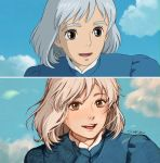 1girl :d blue_dress blue_sky brown_eyes clivenzu clouds cloudy_sky commentary derivative_work dress english_commentary graphite_(medium) grey_hair highres howl_no_ugoku_shiro looking_at_viewer open_mouth photo reference_work screencap signature sky smile solo sophie_(howl_no_ugoku_shiro) traditional_media