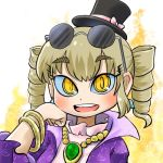 1girl aura avatar_icon bangle black_headwear bow bracelet chamaji chin_rest coat commentary drill_hair earrings eyebrows_visible_through_hair eyewear_on_head floral_print hat hat_bow high_collar jacket jewelry light_brown_hair looking_at_viewer lowres mini_hat mini_top_hat necklace open_mouth pendant purple_jacket round_eyewear simple_background smile solo sunglasses top_hat touhou twin_drills yorigami_jo'on