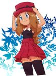 1girl black_legwear blue_eyes breasts brown_hair closed_mouth hat highres long_hair nyonn24 pokemon pokemon_(game) pokemon_xy serena_(pokemon) skirt sleeveless smile solo thigh-highs