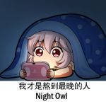 1girl chibi chinese_text english_text eyebrows_visible_through_hair fujiwara_no_mokou handheld_game_console lowres meme pink_hair playing_games playstation_vita red_eyes shangguan_feiying solo touhou translated under_covers video_game