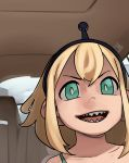1girl :d amano_pikamee black_hairband blonde_hair bra bra_strap bright_pupils car_interior close-up commentary english_commentary gon_(piesonscreation) green_bra green_eyes hairband highres looking_at_viewer meme open_mouth parody photo-referenced riff_raff_(rapper) sharp_teeth short_hair smile solo teeth underwear voms