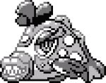bruxish commentary creature english_commentary fish fish_focus full_body gen_7_pokemon greyscale lowres monochrome no_humans pat_attackerman pixel_art pokemon pokemon_(creature) solo sprite transparent_background