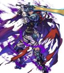 1boy alternate_costume armor armored_boots arrow aura belt blue_hair boots cape fingerless_gloves fire_emblem fire_emblem:_radiant_dawn fire_emblem_heroes fujisaka_kimihiko full_body gloves headband highres ike_(fire_emblem) injury official_art ragnell red_eyes scar solo sword teeth torn_clothes transparent_background weapon