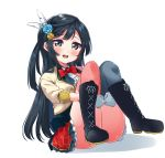 1girl ass bangs beige_jacket black_footwear black_hair black_legwear blue_flower blue_rose blush boots bow commentary_request dress feathers flower frills gloves grey_eyes hair_feathers hair_flower hair_ornament highres knees_up long_hair looking_at_viewer love_live! love_live!_school_idol_project pink_legwear red_bow red_neckwear rose shirt simple_background solo totoki86 upper_teeth white_background white_gloves white_shirt yuuki_setsuna_(love_live!)