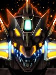 backlighting black_background close-up embers glowing glowing_eyes highres key_visual looking_at_viewer mecha no_humans official_art sharp_teeth ssss.dynazenon teeth upper_body yellow_eyes