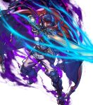 1boy alternate_costume armor armored_boots aura belt blue_hair boots cape fingerless_gloves fire_emblem fire_emblem:_radiant_dawn fire_emblem_heroes fujisaka_kimihiko full_body gloves glowing glowing_eyes headband highres ike_(fire_emblem) official_art open_mouth ragnell red_eyes solo sword teeth transparent_background weapon