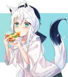 1girl ahoge animal_ear_fluff animal_ears blue_background blush braid collarbone commentary_request eating eyebrows_visible_through_hair food fox_ears fox_girl fox_tail green_eyes hair_between_eyes highres holding_pizza hololive long_hair looking_at_viewer pizza shirakami_fubuki shirt shuuzo3 simple_background solo tail virtual_youtuber white_background white_hair white_shirt wide_sleeves