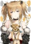 1girl alternate_hairstyle animal animal_ears arknights artist_name bangs bare_shoulders black_choker black_jacket blonde_hair blush breasts brown_eyes candy choker collarbone commentary_request eyebrows_visible_through_hair food fur-trimmed_jacket fur_trim hair_between_eyes holding holding_animal holding_food jacket large_breasts lion lion_cub lion_ears lollipop long_hair long_sleeves looking_at_viewer off_shoulder sidelocks siege_(arknights) speech_bubble tank_top tooka translated twintails twitter_username upper_body white_tank_top