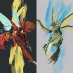 commentary_request creature gen_1_pokemon gen_2_pokemon highres jyunhh no_humans pokemon pokemon_(creature) realistic scizor scyther signature