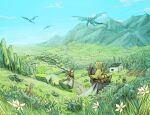 1boy 1girl 90n_pacos annette_(pixiv_fantasia_last_saga) basket bedroll black_hairband blue_sky brown_hair day dragon dress elliot_(pixiv_fantasia_last_saga) field flower green_dress green_headwear hairband hat hat_feather highres horse house insect_wings instrument lute_(instrument) mountain outdoors pixiv_fantasia pixiv_fantasia_last_saga rabbit saddle sky standing well white_hair wings