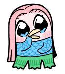 1other amabie beak bkub blue_eyes blush chibi long_hair no_humans original pink_hair scales simple_background solo white_background youkai