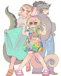 3girls african_rock_python_(kemono_friends) alternate_costume animal_ears anteater_ears anteater_tail arm_behind_head arm_up bare_arms bare_legs bare_shoulders bear_ears black_eyes black_hair blonde_hair brown_eyes camisole closed_mouth contemporary eyebrows_visible_through_hair ezo_brown_bear_(kemono_friends) fingernails full_body grey_hair hairband hands_up headband highres igarashi_(nogiheta) kemono_friends knees_together_feet_apart light_brown_hair long_skirt long_sleeves looking_afar looking_at_viewer multicolored multicolored_clothes multicolored_hair multiple_girls nail_polish open_mouth pants redhead ribbed_sweater sandals semi-rimless_eyewear short_hair short_sleeves silky_anteater_(kemono_friends) simple_background skirt sleeves_past_wrists slit_pupils smile snake_tail standing sunglasses sweater tail tied_hair toenails toes two-tone_hair under-rim_eyewear violet_eyes white_background
