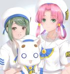 2girls absurdres ai_(aria) aria aria_company_uniform aria_pokoteng beret blouse blush cat hat highres kamehito looking_at_viewer mizunashi_akari multiple_girls simple_background smile upper_body