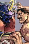 2boys anger_vein armor black_eyes black_hair clenched_teeth face facial_hair fighting final_fight glint hankuri helmet holding holding_weapon male_focus mike_haggar multiple_boys muscle mustache old_man profile shirtless simple_background sodom street_fighter street_fighter_zero_(series) teeth v-shaped_eyebrows veins weapon