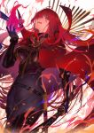 1girl armored_boots bangs belt black_bodysuit bodysuit boots bracer breasts cape chain collared_cape family_crest fate/grand_order fate_(series) fire hair_over_one_eye highres katana koha-ace large_breasts licking_lips long_hair looking_at_viewer nijimaarc oda_nobunaga_(fate)_(all) oda_nobunaga_(maou_avenger)_(fate) oda_uri open_mouth popped_collar red_cape red_eyes redhead sheath smile solo sword thighs tongue tongue_out weapon