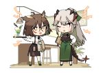 2girls absurdres ahoge alternate_costume alternate_hairstyle apron arguing arknights artist_logo artist_name black_neckwear black_ribbon black_skirt black_vest carrying_under_arm collared_shirt commentary counter dragon_horns dragon_tail drink eyebrows_visible_through_hair feathers foam full_body glass glasses green_apron hair_between_eyes hair_feathers hand_on_hip highres horns lamp long_hair looking_at_another menu miniskirt multiple_girls neck_ribbon nys one_eye_closed open_mouth orange_eyes plant ponytail potted_plant red_eyes rhine_lab_logo ribbon round_eyewear saria_(arknights) shirt short_hair side_slit signature silence_(arknights) silver_hair simple_background skirt standing stool suspender_skirt suspenders tail test_tube towel tray vest waitress white_background white_shirt wing_collar