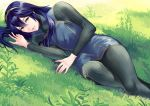1girl ameno_(a_meno0) black_bodysuit blue_eyes blue_hair bodysuit day fire_emblem fire_emblem_awakening grass hair_between_eyes hairband long_hair long_sleeves looking_at_viewer lucina lucina_(fire_emblem) lying on_side open_mouth outdoors shiny shiny_hair smile solo
