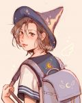 1girl artist_name backpack bag blue_sailor_collar blush brown_hair clivenzu closed_mouth commentary english_commentary fingernails from_behind graphite_(medium) grey_background hands_up hat highres looking_at_viewer mixed_media mole mole_on_neck mole_under_eye original purple_headwear randoseru sailor_collar school_uniform serafuku shirt short_sleeves smile solo traditional_media twitter_username white_shirt