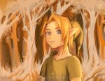 1boy artist_name blonde_hair clivenzu commentary english_commentary forest green_headwear hat highres link looking_at_viewer male_focus nature orange_background parted_lips pointy_ears short_sleeves solo the_legend_of_zelda the_legend_of_zelda:_ocarina_of_time tree upper_body young_link