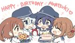 4girls akatsuki_(kantai_collection) anchor anchor_symbol bangs birthday birthday_cake blue_eyes blush bouquet box brown_eyes brown_hair cake candle chibi eyebrows_visible_through_hair fang flat_cap flower folded_ponytail food gift gift_box hands happy_birthday hat heart hibiki_(kantai_collection) highres hizuki_yayoi holding holding_bouquet holding_cake holding_gift ikazuchi_(kantai_collection) inazuma_(kantai_collection) kantai_collection long_hair long_sleeves multiple_girls musical_note open_mouth pleated_skirt ponytail purple_hair red_neckwear sailor_collar school_uniform serafuku short_hair silver_hair simple_background skin_fang skirt sparkle star violet_eyes white_background