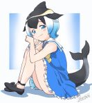 1girl bare_shoulders black_bow black_footwear black_hair blonde_hair blue_dress blue_eyes blue_hair blush bow bowtie commentary_request common_dolphin_(kemono_friends) dolphin_tail dorsal_fin dress eyebrows_visible_through_hair fanta_(the_banana_pistols) frilled_dress frills gradient_hair highres kemono_friends knees_to_chest looking_at_viewer mary_janes multicolored_hair sailor_collar shoe_bow shoes short_hair sitting sleeveless sleeveless_dress smile solo white_frills white_hair wristband yellow_neckwear