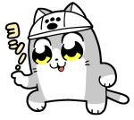 animal bkub cat futaba_channel genba_neko hat no_humans open_mouth paw_print pointing simple_background solo white_background white_headwear yellow_eyes