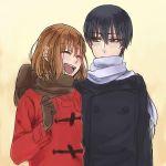 1boy 1girl black_hair brown_hair coat gingitsune_(ochiai_sayuri) itsu_(ami) kamio_satoru saeki_makoto scarf simple_background smile