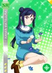 blue_hair blush character_name dress long_hair love_live!_school_idol_festival love_live!_sunshine!! matsuura_kanan ponytail smile violet_eyes