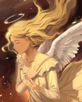 1girl angel angel_wings artist_name blonde_hair clivenzu closed_eyes closed_mouth commentary dress english_commentary feathered_wings fingernails floating_hair halo highres jewelry long_hair long_sleeves necklace original smile solo white_dress white_wings wings