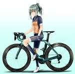 1girl alternate_costume bianchi_(company) bicycle bike_shorts blue_gloves blue_legwear breasts brown_eyes eyebrows_visible_through_hair fingerless_gloves from_side full_body gloves gradient gradient_background green_background green_hair ground_vehicle highres kantai_collection kazu_(really_in_hot_water_now) kneehighs looking_at_viewer ponytail short_sleeves sidelocks simple_background small_breasts solo white_footwear yuubari_(kantai_collection)