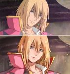 1boy artist_name blonde_hair blue_eyes cape clivenzu closed_mouth commentary derivative_work earrings english_commentary graphite_(medium) highres howl_(howl_no_ugoku_shiro) howl_no_ugoku_shiro jewelry looking_at_viewer mixed_media red_cape reference_work screencap smile solo traditional_media twitter_username