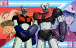 1970s_(style) black_eyes clenched_hands handshake highres joints kabuto_kouji looking_at_viewer looking_to_the_side mazinger_z mazinger_z:_infinity mazinger_z_(mecha) mecha oldschool release_date robot_joints super_robot taaburu touei
