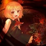 1girl abstract_background absurdres black_skirt black_vest blonde_hair commentary_request cravat darkness ekaapetto eyebrows_visible_through_hair fang hair_ribbon highres long_sleeves looking_at_viewer open_mouth partial_commentary petticoat red_neckwear ribbon rumia shirt short_hair sitting skirt smoke solo touhou vest white_shirt yellow_eyes