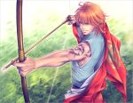 1boy aiming arm_tattoo arrow bow_(weapon) drawing_bow foreshortening frown gem harukanaru_toki_no_naka_de harukanaru_toki_no_naka_de_2 heian holding holding_arrow holding_bow_(weapon) holding_weapon japanese_clothes kimono kiske male_focus outstretched_arm redhead solo taira_no_katsuzane tattoo toned toned_male weapon yellow_eyes