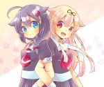 2girls :d ahoge black_hair black_ribbon black_serafuku black_shirt black_skirt blonde_hair blue_eyes blush braid breasts brown_background closed_mouth commentary_request fang floral_background hair_flaps hair_ornament hair_over_shoulder hair_ribbon hairclip kantai_collection kouu_hiyoyo locked_arms long_hair multiple_girls neckerchief open_mouth pleated_skirt red_eyes red_neckwear remodel_(kantai_collection) ribbon sailor_collar school_uniform serafuku shigure_(kantai_collection) shirt skirt small_breasts smile two-tone_background very_long_hair white_background white_sailor_collar yuudachi_(kantai_collection)