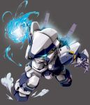 absurdres arbalest blue_eyes chibi dynamic_pose energy full_metal_panic! grey_background highres leaning_forward mecha no_humans open_hand punching robo_misucha solo