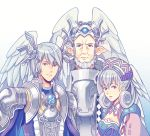 1girl 2boys armor breasts brother_and_sister cape family father_and_daughter father_and_son gradient gradient_background hallo-byby hat head_wings headpiece kallian medium_breasts melia multiple_boys short_hair siblings silver_hair sorean upper_body white_background xenoblade_(series) xenoblade_1