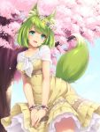 1girl :d animal_ear_fluff animal_ears blue_eyes blush capelet cherry_blossoms daisy day dress flower fox_ears fox_tail green_fox_(sasaame) green_hair head_tilt head_wreath looking_at_viewer open_mouth original outdoors own_hands_together pink_flower purple_flower sasaame short_hair smile solo standing tail tree white_capelet white_flower wristband yellow_dress yellow_flower