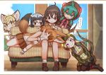 ... 1other 5girls african_rock_python_(kemono_friends) ahoge ambiguous_gender animal_ears bare_arms bare_legs bare_shoulders behind_another black_hair blonde_hair blush boots border brown_eyes brown_hair captain_(kemono_friends) cat_ears character_name clenched_teeth closed_eyes common_raccoon_(kemono_friends) couch day dhole_(kemono_friends) dog_ears dog_tail drawstring extra_ears eyebrows_visible_through_hair fishnet_legwear fishnets furrowed_eyebrows gloves green_eyes green_hair grey_hair hair_between_eyes heart highres hood hood_up hoodie indoors kemono_friends kemono_friends_3 kneeling lap_pillow leaning_to_the_side looking_at_another lying medium_hair miniskirt multicolored_hair multiple_girls on_side pantyhose purple_hair raccoon_ears rakugakiraid sand_cat_(kemono_friends) shirt shoes short_hair shorts signature sitting skirt sleeveless sleeveless_shirt smile snake_tail spoken_ellipsis spoken_heart striped_hoodie striped_tail tail teeth translation_request tsuchinoko_(kemono_friends) two-tone_hair violet_eyes white_hair window yellow_eyes